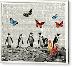 Penguins And Butterflies Acrylic Print