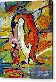 Penguins Acrylic Print by David Lloyd Glover