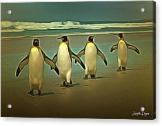 Penguins In The Beach Acrylic Print