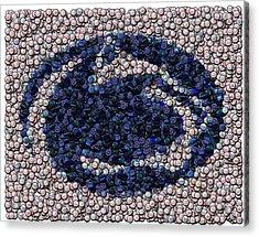 Penn State Bottle Cap Mosaic Acrylic Print by Paul Van Scott