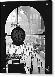 Penn Station Clock Acrylic Print by Van D Bucher and Photo Researchers