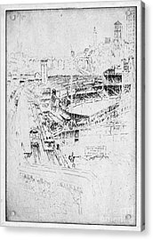 Acrylic Print featuring the drawing Pennell Polo Grounds 1921 by Granger