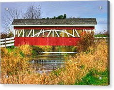 Pennsylvania Country Roads - Oregon Dairy Covered Bridge Over Shirks Run - Lancaster County Acrylic Print