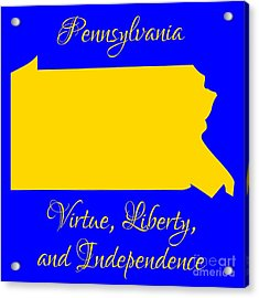 Pennsylvania Map In State Colors Blue And Gold With State Motto Virtue Liberty And Independence Acrylic Print by Rose Santuci-Sofranko