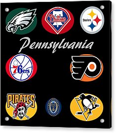Pennsylvania Professional Sport Teams Collage  Acrylic Print by Movie Poster Prints