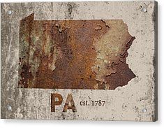 Pennsylvania State Map Industrial Rusted Metal On Cement Wall With Founding Date Series 011 Acrylic Print by Design Turnpike