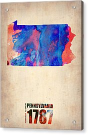 Pennsylvania Watercolor Map Acrylic Print by Naxart Studio