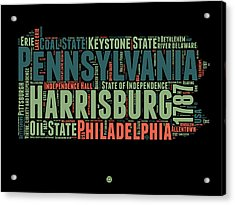 Pennsylvania Word Cloud Map 1 Acrylic Print by Naxart Studio