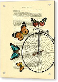 Penny Farthing With Butterflies Acrylic Print