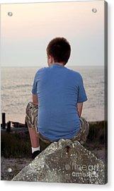 Pensive Beach Teen Boy 3 Acrylic Print