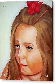 Pensive Lass Acrylic Print by Joni McPherson