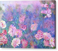 Acrylic Print featuring the painting Peonies by Claire Bull