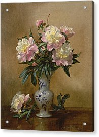 Peonies In A Blue And White Vase Acrylic Print by Albert Williams