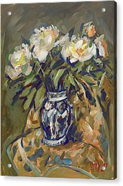 Peonies In Delft Blue Vase On Quilt Acrylic Print
