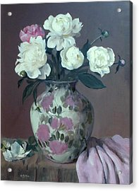 One Pink And Four White Peonies, Lavender Cloth  Acrylic Print