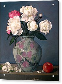 Peonies In Floral Vase With Red Apple Acrylic Print