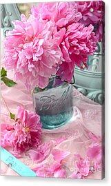 Peonies Aqua Mason Jar - Summer Garden Peonies Ball Jar - Romantic Peonies Aqua Pink Decor Acrylic Print by Kathy Fornal