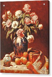 Peonies With Ginger Jar Acrylic Print by David Olander