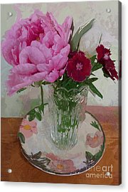 Peonies With Sweet Williams Acrylic Print by Alexis Rotella