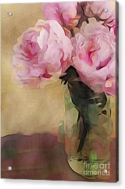 Acrylic Print featuring the digital art Peony Bouquet by Alexis Rotella