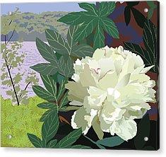Peony By The Lake Acrylic Print by Marian Federspiel