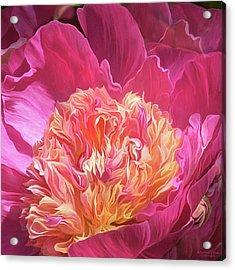 Acrylic Print featuring the mixed media Peony - Flower Of Desire by Carol Cavalaris