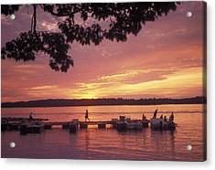 People At The Marina At Sunset Acrylic Print by Richard Nowitz