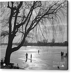 People Ice Skating On A Frozen Over Lake Acrylic Print by German School