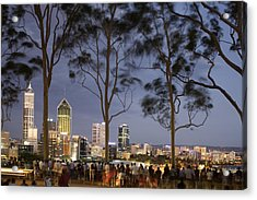 People In Kings Park Watching Fireworks On Australia Day With Perth Skyline In Background Acrylic Print by Orien Harvey