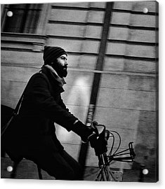 #people #man #beard #hood #winter #bike Acrylic Print