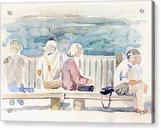 People On Benches Acrylic Print by Linda Berkowitz