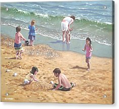 people on Bournemouth beach kids in sand Acrylic Print