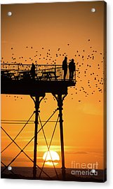 People On The Pier Sunset And Starlings In Aberystwyth Wales Acrylic Print