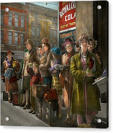 People - People Waiting For The Bus - 1943 Acrylic Print by Mike Savad