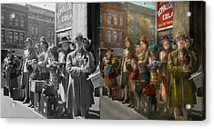 People - People Waiting For The Bus - 1943 - Side By Side Acrylic Print by Mike Savad