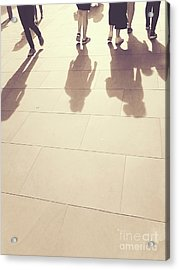 Acrylic Print featuring the photograph People Walk The Golden Path by Rebecca Harman