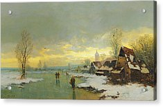 People Walking On A Frozen River  Acrylic Print by Johann II Jungblut