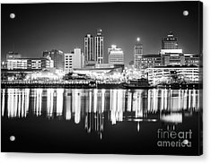 Peoria Illinois At Night Black And White Photo Acrylic Print