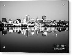 Peoria Illinois Skyline Black And White Photo Acrylic Print