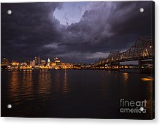 Peoria Stormy Cityscape Acrylic Print by Andrea Silies