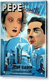 Pepe Le Moko, Jean Gabin, 1937 Acrylic Print by Everett