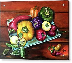 Peppers And A Turquoise Tray Acrylic Print