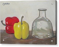 Peppers And Tequila Bottle Acrylic Print