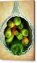 Acrylic Print featuring the painting Peppers In A Horn Of Plenty Basket Ap by Dan Carmichael