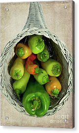 Acrylic Print featuring the photograph Peppers In A Horn Of Plenty Basket by Dan Carmichael