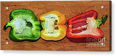 Acrylic Print featuring the photograph Peppers In A Row By Kaye Menner by Kaye Menner