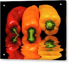 Acrylic Print featuring the photograph Peppers Red Yellow Orange by David French