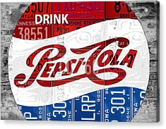 Pepsi Cola Vintage Logo Recycled License Plate Art On Brick Wall Acrylic Print