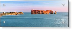 Acrylic Print featuring the photograph Perce Rock Panorama At Sunset by Elena Elisseeva