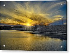 Percy Priest Dam At Sunset Acrylic Print by Steven  Michael